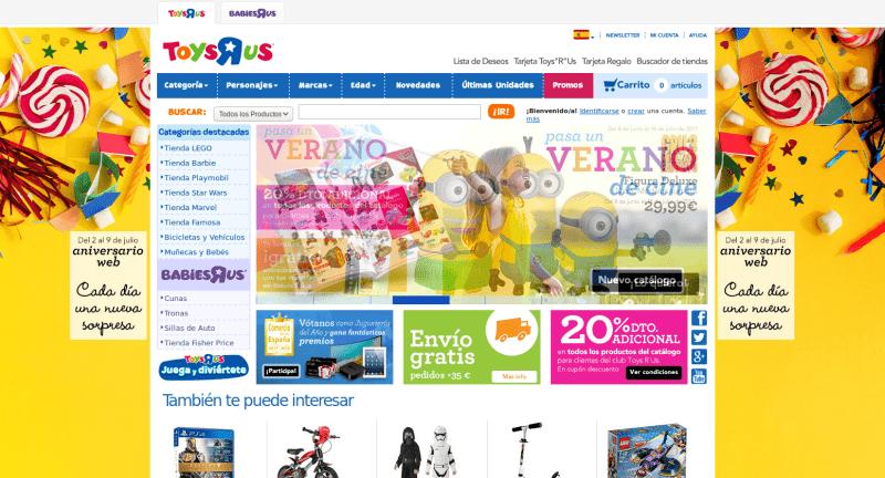 toysrus - web amb excés d'informació en el disseny web